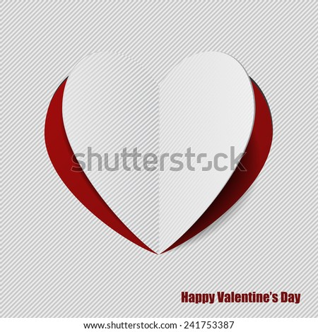 Vector paper heart on red backdrop. EPS 10 - stock vector