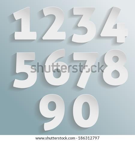 Vector paper numbers - stock vector