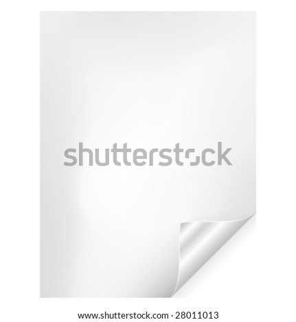 Vector paper page curl with silver corner - stock vector