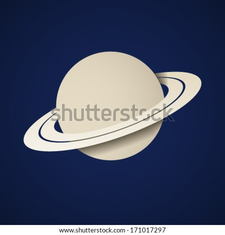 vector paper planet saturn icon - stock vector