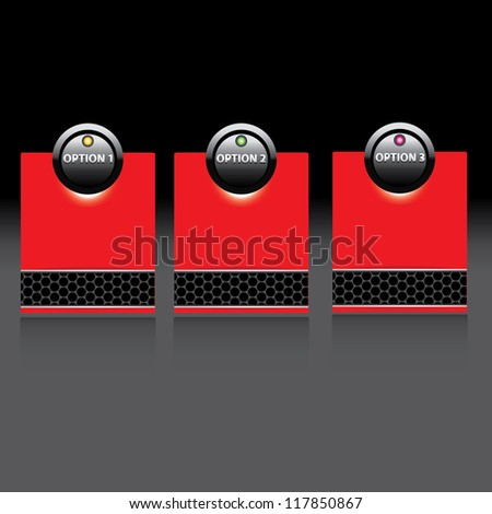 Vector Paper Progress background / product choice or versions. metallic background. black and red glossy metallic banner set. - stock vector