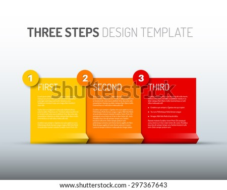Vector Paper Progress design template with three steps - yellow, red and orange version - stock vector