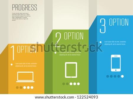 vector paper progress steps - stock vector