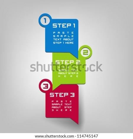Vector paper progress steps for tutorial or presentation - stock vector