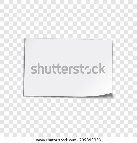 Vector paper sheet on transparent background. Curled corner paper sheet. Vector illustation - stock vector