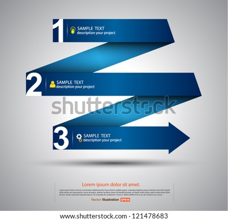 Vector paper step arrows origami style / business concept / go to success - stock vector