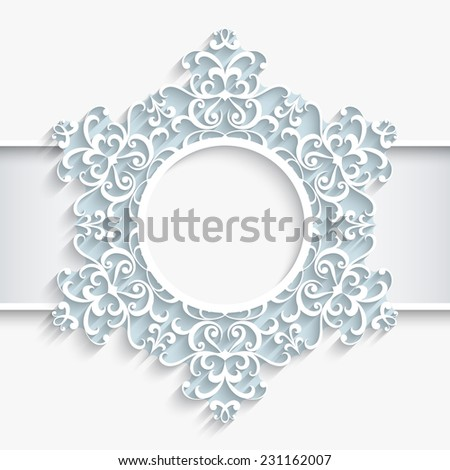 Vector paper swirls, ornamental frame, round vignette, lacy snowflake on white background, eps10 - stock vector