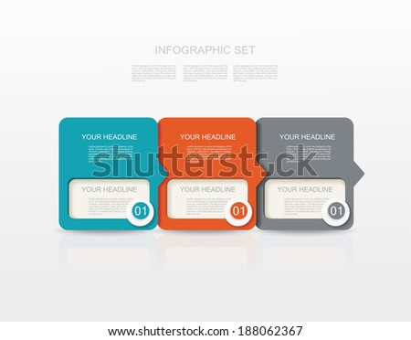 vector paper tags, labels, banners in the pockets, - one two three steps  - stock vector