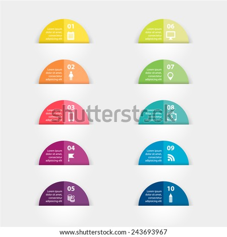 Vector paper triangle stickers and labels with realistic shadows for infographic set . Template for diagram, graph, presentation and chart. Business concept with 10 options, parts, steps or processes. - stock vector