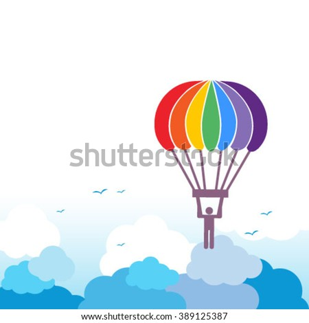 Vector parachute element with rainbow colors, on sky background - stock vector