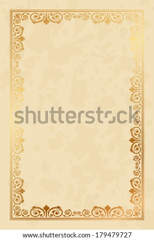 Vector parchment paper background with floral ornaments - stock vector