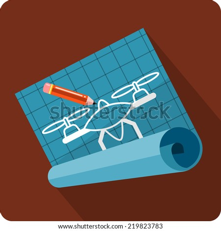 Vector Partially Unrolled Blueprint  - stock vector