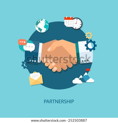 Vector partnership illustration. Flat style. Background for business and finance - stock vector