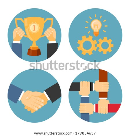 vector partnership, mutual and cooperation concepts business illustrations - stock vector
