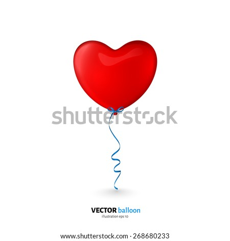Vector party flying balloon with streamer isolated on white background. - stock vector