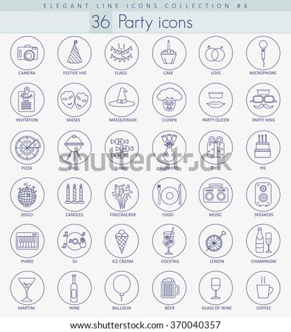 Vector Party Outline icon set. Elegant thin line style design - stock vector