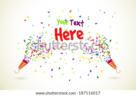 Vector Party Popper with text space on white background - stock vector
