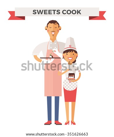 Vector pastry chef vector illustration. Cartoon cook pastry chef icon. Restaurant pastry chef chefs hat and cook uniform. Sweets makers uniform chefs, pastry chef job. Pastry chef vector isolated - stock vector