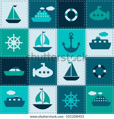 vector patchwork background with sea transport - stock vector