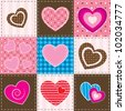 vector patchwork with textured hearts - stock vector