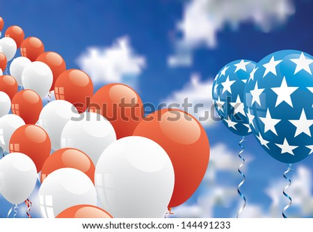 vector patriotic background with balloons over cloudy sky - stock vector