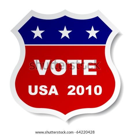 vector patriotic vote sticker - stock vector
