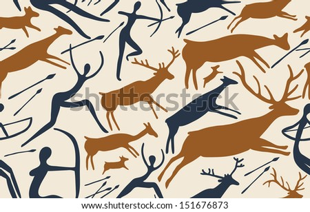 Vector pattern about hunting with primitive figures - stock vector