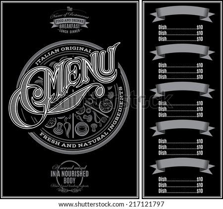 vector pattern for menu pizza over black background and calligraphy - stock vector