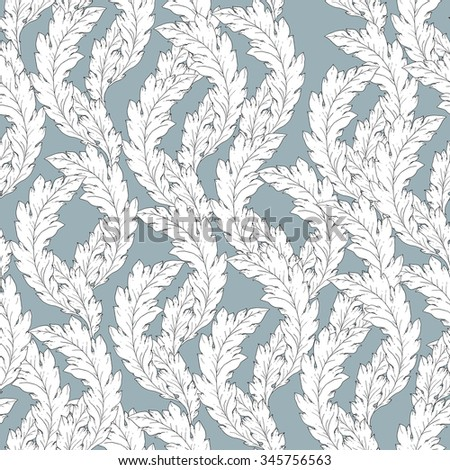 Vector pattern inspired by acanthus leaves. Seamless pattern texture hand drawn in blue, white colors. Vintage print for fashion, textile, decor, wrapping, wallpaper - stock vector