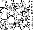 Vector pattern of fruits. Fruit seamless pattern. Stylized fruits.  Black and white - stock vector