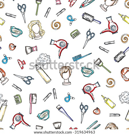 Vector pattern on the theme of barber shop, with hand drawn symbols of hair salon - scissors, combs, hair pins, hair dye. Background for use in design, web site, packing, textile, fabric - stock vector