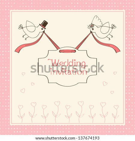 Vector pattern pink wedding invitations with birds - stock vector