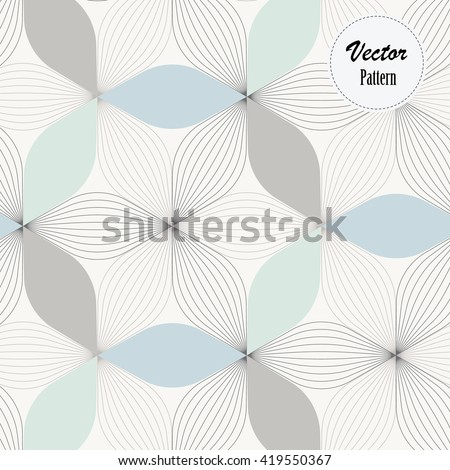 Vector pattern. Repeating geometric abstract petal of flower and linear flowers - stock vector