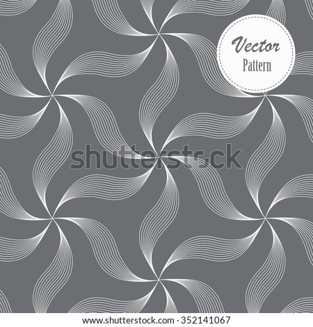 Vector pattern. Repeating geometric linear abstract flowers - stock vector