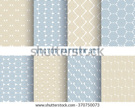 Vector pattern set in trendy mono line style - 8 minimal and geometric textures collection - stock vector