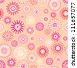 Vector pattern - vintage flower seamless (pink floral background) - stock vector