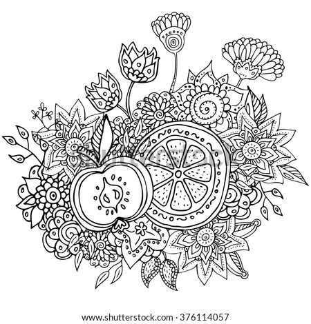 vector pattern with abstract flowers orange and apple . Coloring book page for adult - stock vector