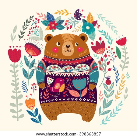 Vector pattern with  adorable bear, flowers and leaves. Lovely beautiful card with cute bear. Hello card - stock vector