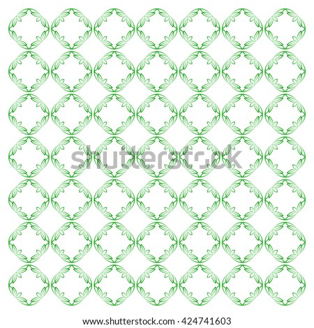Vector pattern with art ornament. Elements for design . Ornamental lace tracery background.Green white. - stock vector