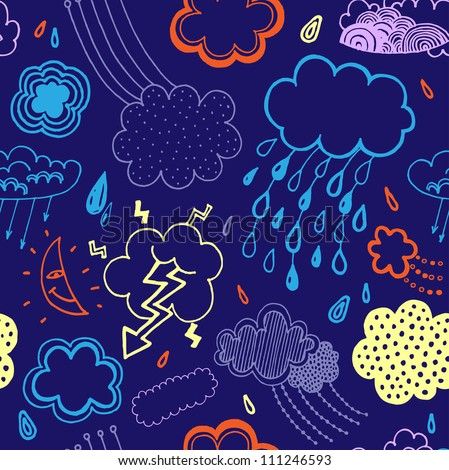 Vector pattern with clouds - stock vector