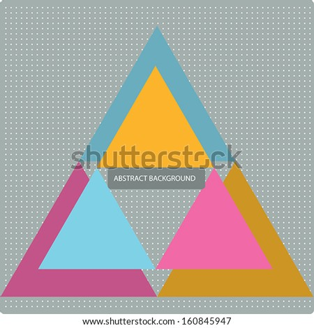 Vector pattern with colorful geometric shapes, triangles,lines and small polka dots.Colorful backdrop, seamless background pattern, retro style banner. - stock vector