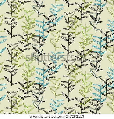 Vector pattern with floral elements. Organic ornament . Can be used as wallpaper (use seamless pattern under mask). - stock vector