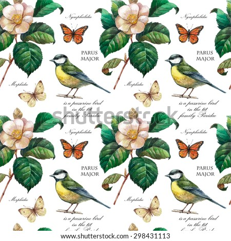Vector pattern with flower and birds. Watercolor collection,gardening design elements,flower ,leaves, birds, butterflies. Background for card, poster, postcard,invitations,wedding, birthday party. - stock vector