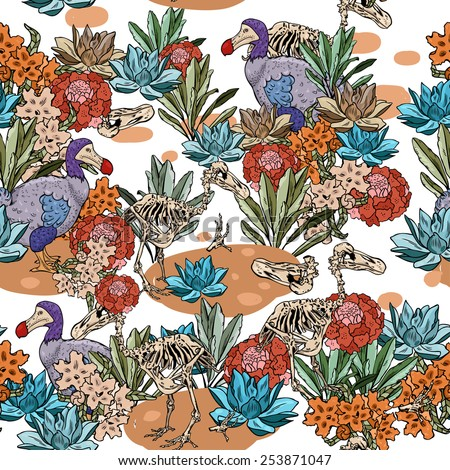 Vector pattern with flowers and birds - stock vector