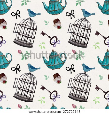 Vector pattern with hand drawing blue  tea pots, keys, leaves, cupcakes, bird cages and birds.  - stock vector