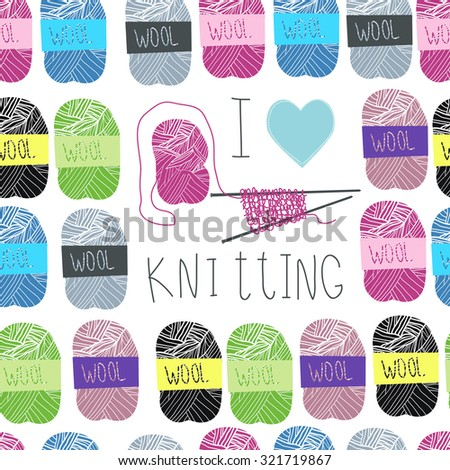 Vector pattern with knitting needles and woolen threads. - stock vector
