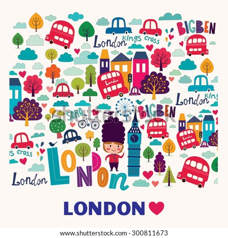 Vector pattern with London symbols - stock vector