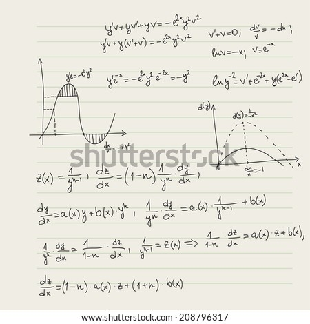 Vector pattern with mathematical formulas, calculations, graphs, proof and scientific research in the field of algebra. Paper sheet with hand-drawn characters. - stock vector