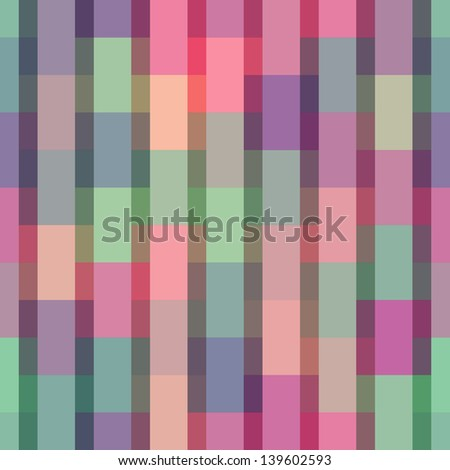 Vector pattern with mesh of color rectangles. Retro geometric ornamental background in disco style. Simple abstract decorative illustration with stylized texture of covering for print, web - stock vector