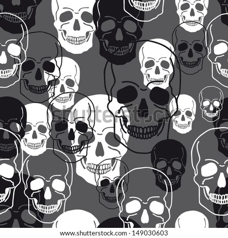 Vector pattern with skulls.Modern stylish texture. Repeating abstract background. - stock vector